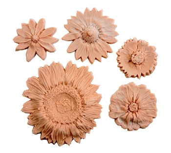 Sax Flowers Nature Impression Set - Assorted Size, Tan - Set of 5