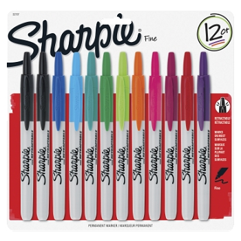 Sharpie Retractable Permanent Marker, Fine Tip - Assorted Color - Pack of 12