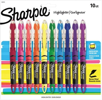 Sharpie Accent Non-Toxic Liquid Pen Highlighter, Chisel Tip - Assorted Fluorescent Color - Pack of 10