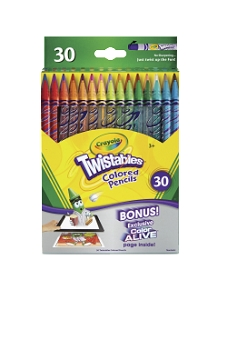 Crayola Twistables Non-Toxic Plastic Colored Pencil Set, 2 mm Tip - Assorted Color - Set of 30