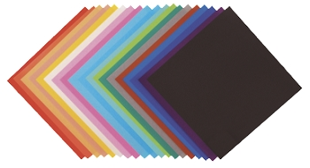 Yasutomo Light-Weight Square Origami Paper - Assorted Solid Color - Pack of 100