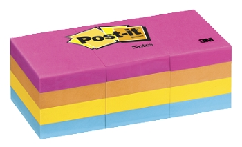 Post-it Original Plain Notepad - Assorted Neon Colors, 100 Sheets/Pad - Pack of 12