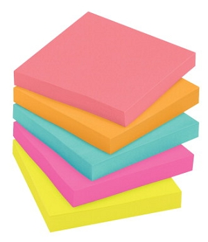 Post-it Original Notepad - Assorted Neon Colors, 100 Sheets/Pad - Pack of 5