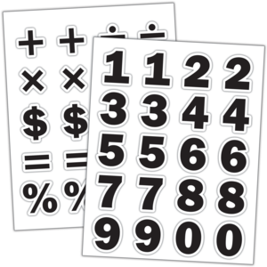 Black Numbers Stickers