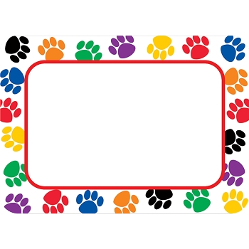 Colorful Paw Prints - Name Tags/Labels