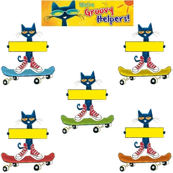 Pete the Cat Groovy Classroom Jobs Mini Bulletin Board - Set of 47 Pieces