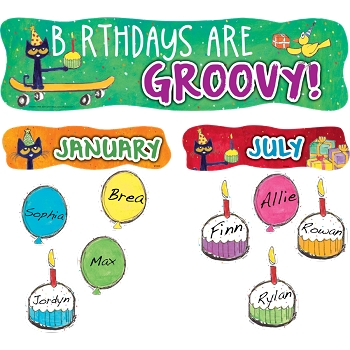 Pete the Cat Birthdays Are Groovy Mini Bulletin Board - 49 Pieces