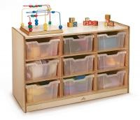 Extra Deep Jumbo Mobile Cubby Unit with 9 Clear Storage Bins