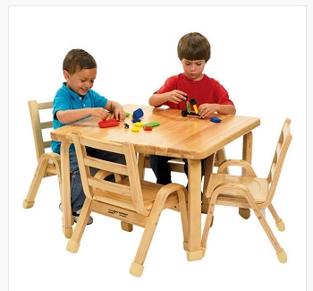 Natural Wood Square Table - Order Chairs Separately