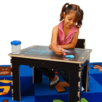 Flip Top Dry Erase and Chalk Table with 1 Bench - Natural