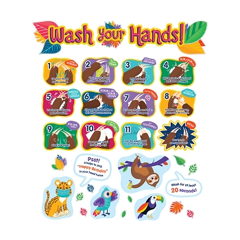 One World Handwashing Bulletin Board Set - Teaches proper handwashing to stop the spread of germs & the virus