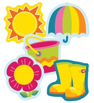 Spring Mix Mini Colorful Cut-Outs - Assorted Designs - 36 Shapes