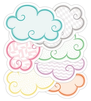 Up and Away Clouds - Mini Colorful Cut-Outs - 30 Assorted Shapes