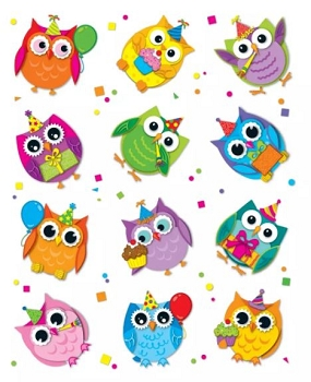Celebrate With Colorful Owls Accent Stickers - Set of 72
