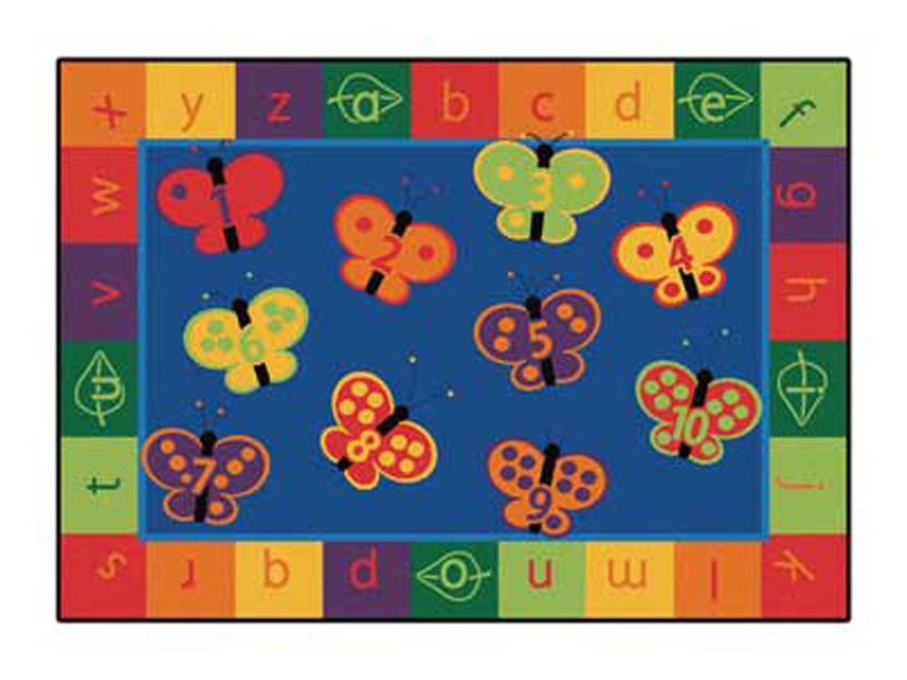 123 ABC Butterfly Fun Rug - Rectangle - 3 Sizes