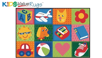 Toddler Fun Squares - Value Rug, 4' x 6'