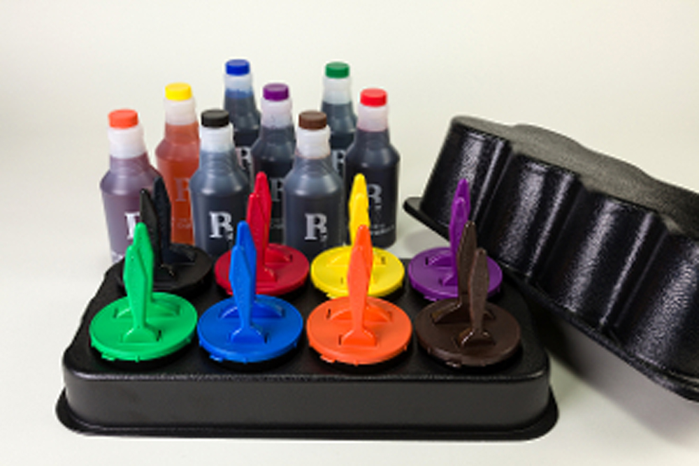 Plastic Caddy with Lid, 8 Ink Wells with 1
