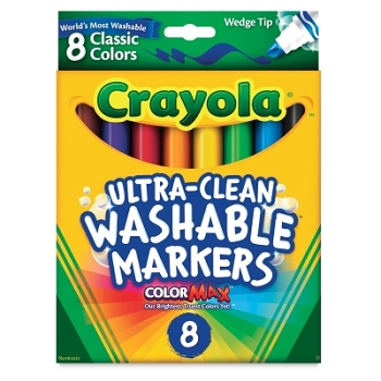 Crayola Ultra-Clean Washable Wedge Tip Markers - Classic - Set of 8