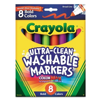 Crayola Ultra-Clean Washable Broad Line Markers - Bold - Set of 8