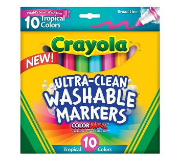 Crayola Ultra-Clean Washable Broad Line Markers - Tropical - Set of 10