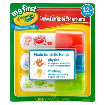 My First Crayola Washable Easy Grip Markers - Set of 3