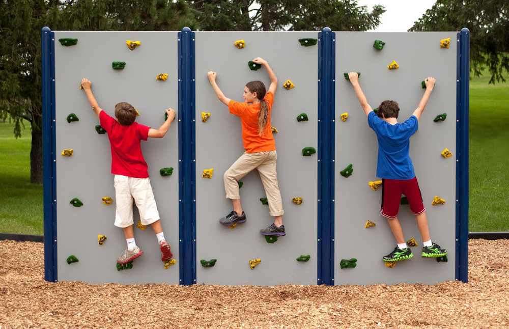School Age Horizontal, 8'H Grey Playgound Wall - Panel Options