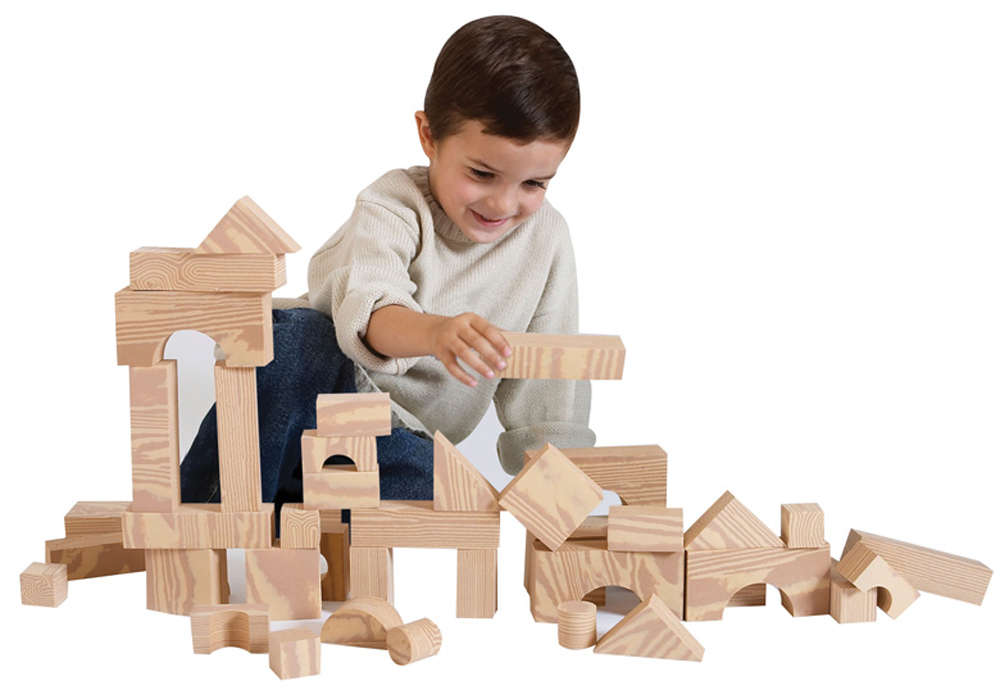 Wood-Like Soft Blocks - Set of 80
