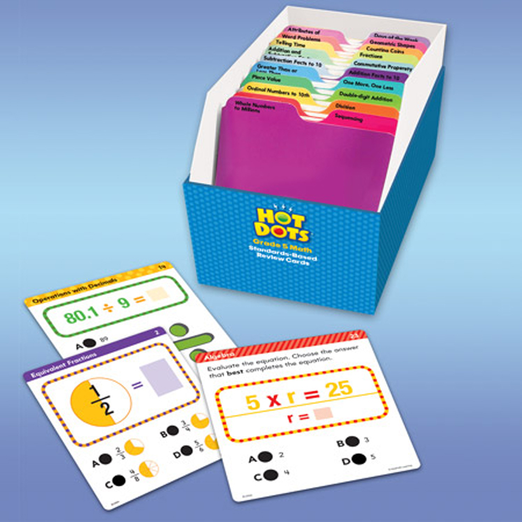 Hot Dots Grade 5: Standards-Based Math Review Cards