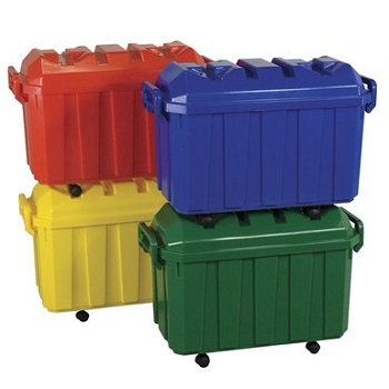 Stackable Storage Trunks with Casters - Set of 4