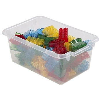 Scoop Front Storage Bins - 10 Pack , Clear