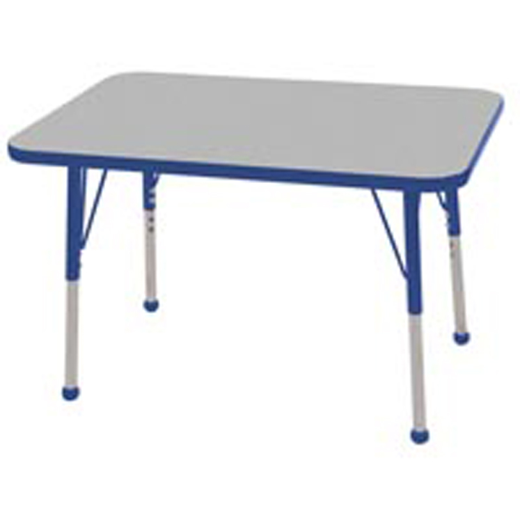 Adjustable Rectangular Activity Table with Color Banding and Legs