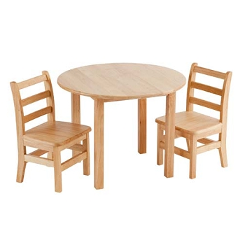 Classic Preschool 30'' Round Hardwood Table and Chairs Set - 22