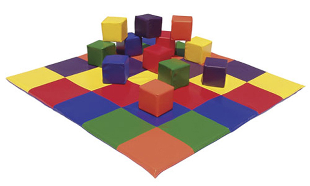Soft Play Set - Patchwork Toddler Mat and 12 Piece Blocks