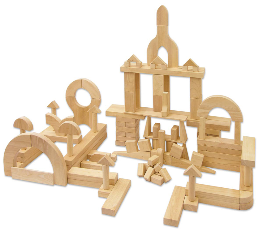 Solid Hardwood Building Blocks - Large Sets