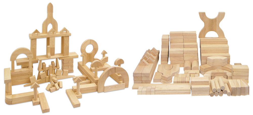 Solid Hardwood Building Blocks - School Set