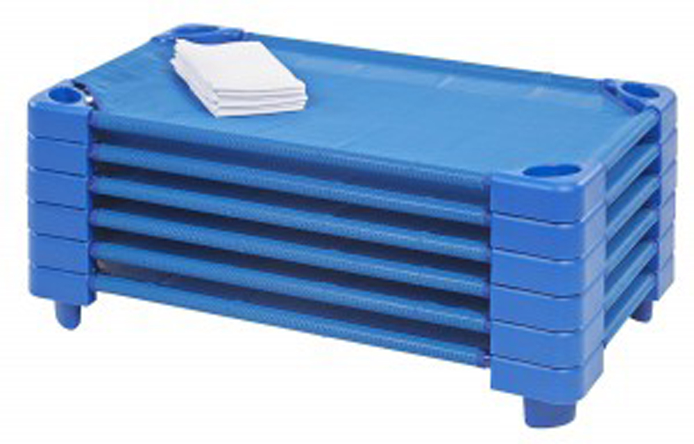 Set of 48 Preschool Kiddie Kots - Space-Saving, Stackable - Ready to Assemble Blue Cots