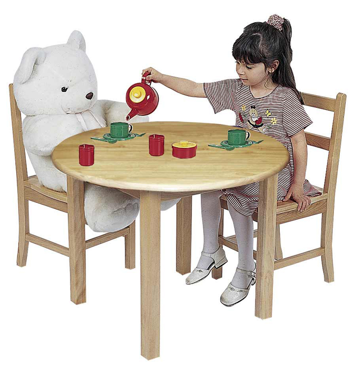 Classic Preschool 30'' Round Hardwood Table and Chairs Set
