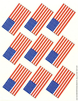 U.S Flags - Giant Stickers - 36 Count