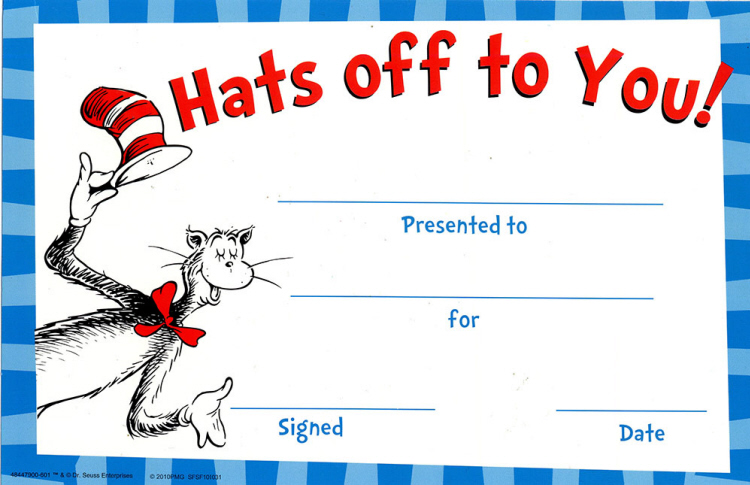 Cat in the Hat® Hats Off To You - Recognition Awards