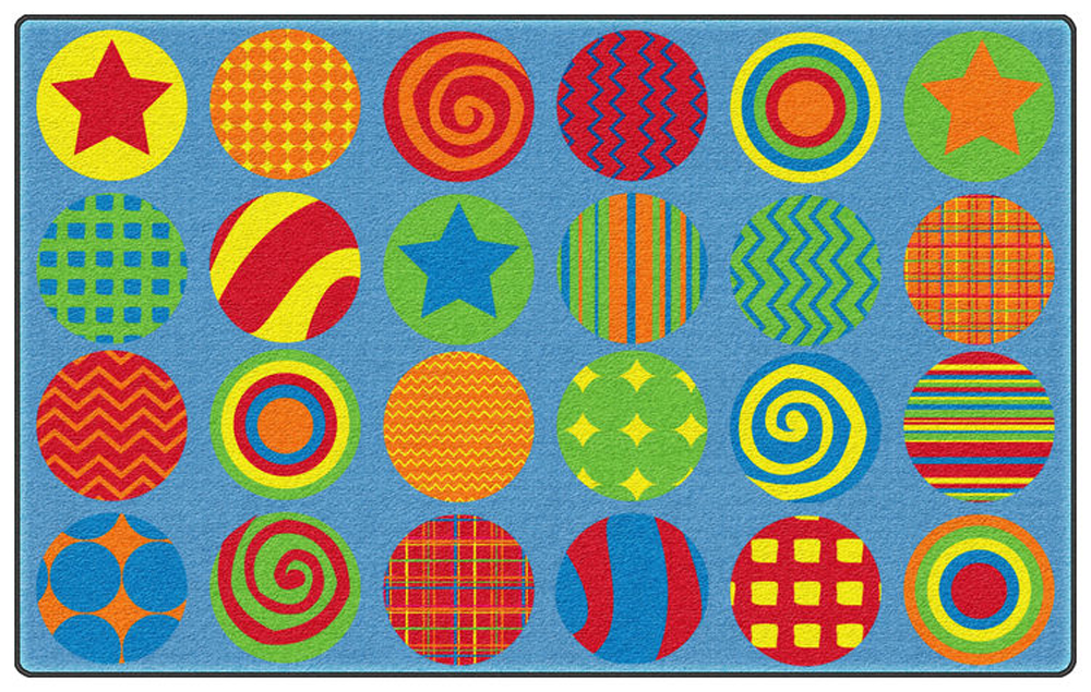 Patterned Circles Rug - Rectangle - Multiple Sizes