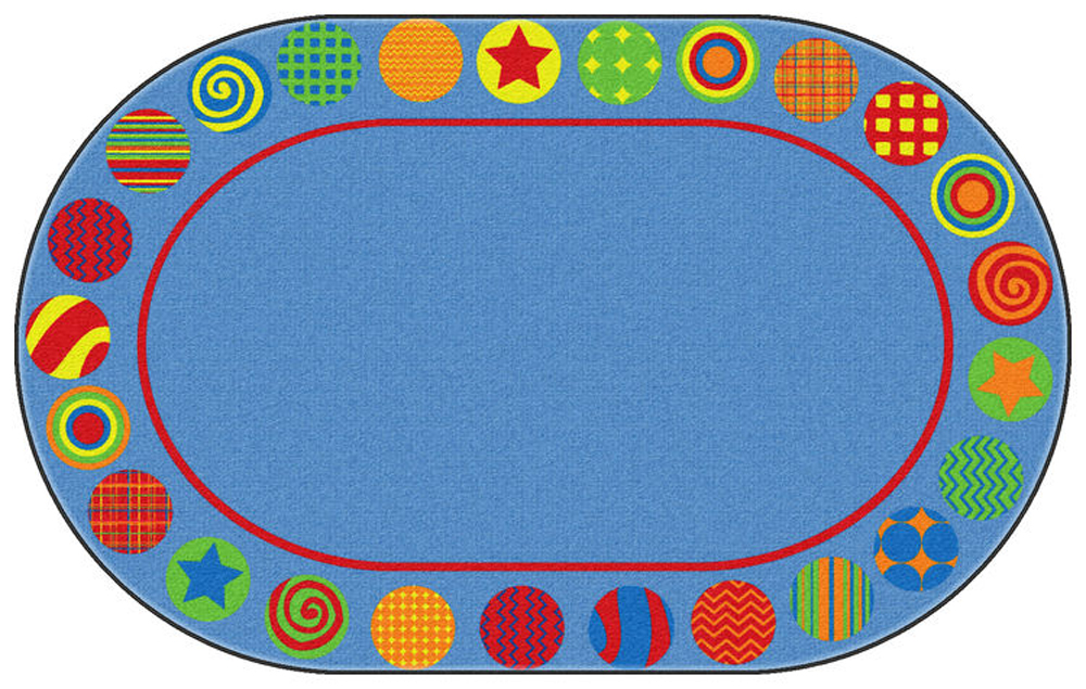 Patterned Circles Rug - Oval - Multiple Sizes