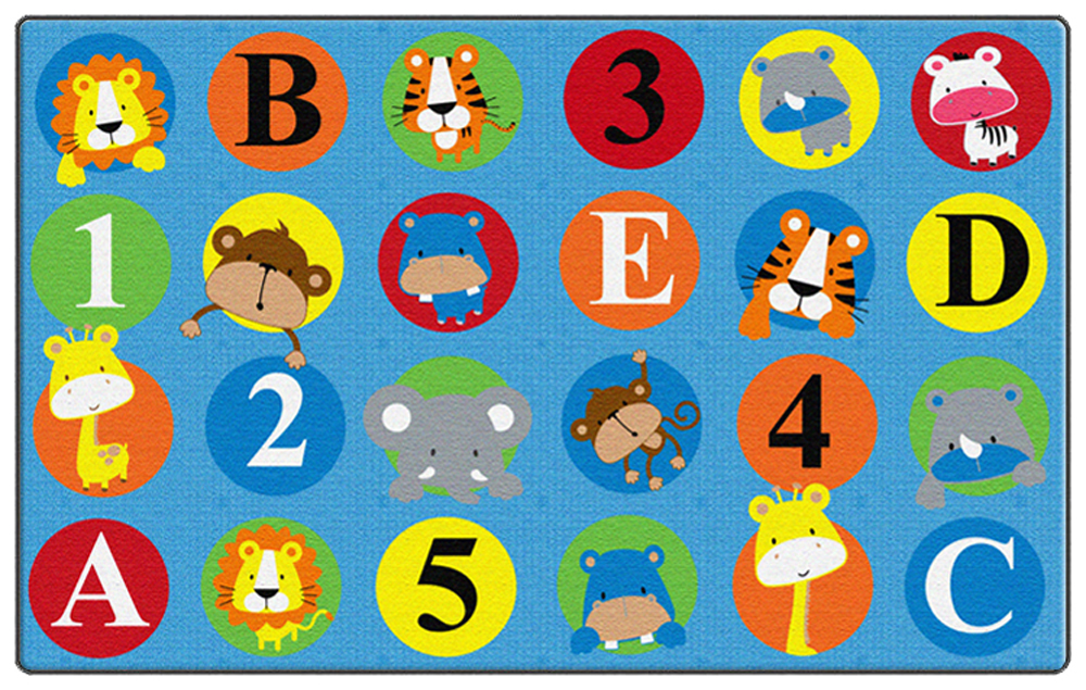 ABC and 123 Animals - Primary Rug - Multiple Sizes