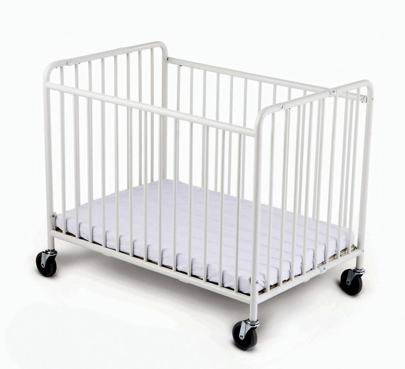 Compact StowAway EasyRoll Folding Steel Evacuation Crib with oversized 4