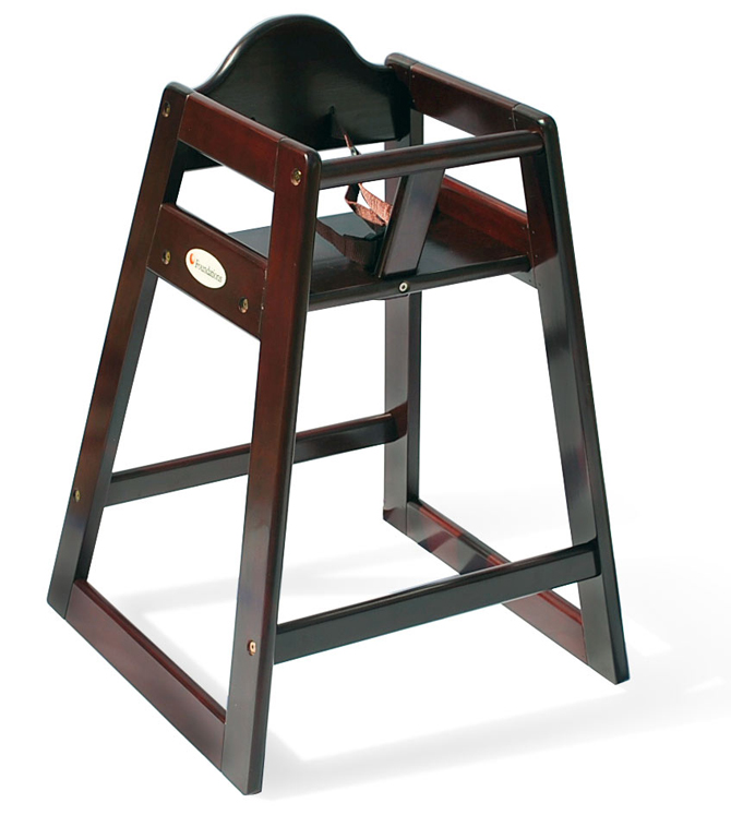 Wood High Chair - Antique Cherry Finish