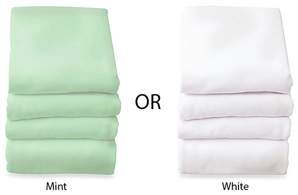Elastic Fitted Safety Sheets for Compact Cribs, Mint or White - Set of 6