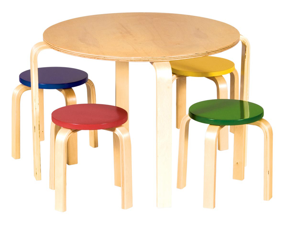 Nordic Table and Chair Set - Colored Stools