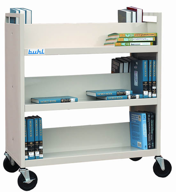 Buhl Book Cart with Six Shelves, Double Sided - Putty Color