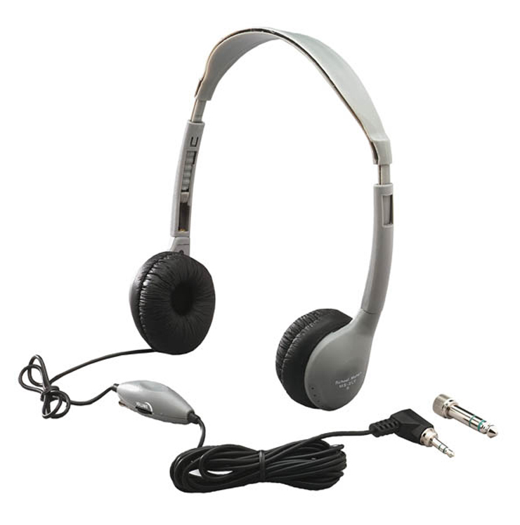 SchoolMate Personal Mono-Stereo Headphone with in-line Volume, Leatherette