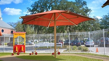 Hexagon Single Column Umbrella with 8' Eave Height, In-ground, No Glide