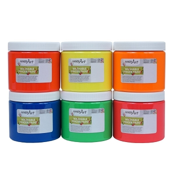 Handy Art Washable Fluorescent Finger Paint - Choice of 4 Colors, 16 oz